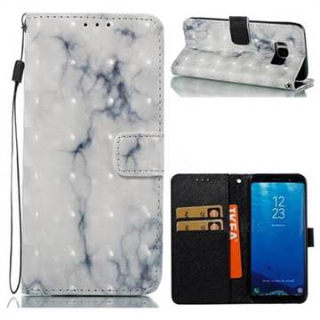 White Gray Marble 3D Painted Leather Wallet Case for Samsung Galaxy S8