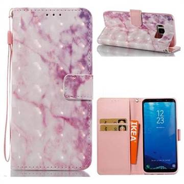 Pink Marble 3D Painted Leather Wallet Case for Samsung Galaxy S8