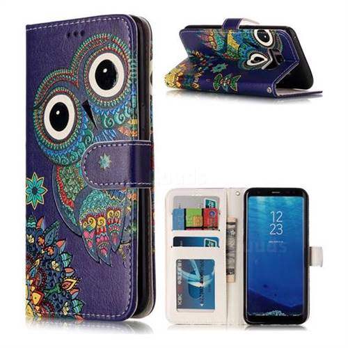 Folk Owl 3D Relief Oil PU Leather Wallet Case for Samsung Galaxy S8