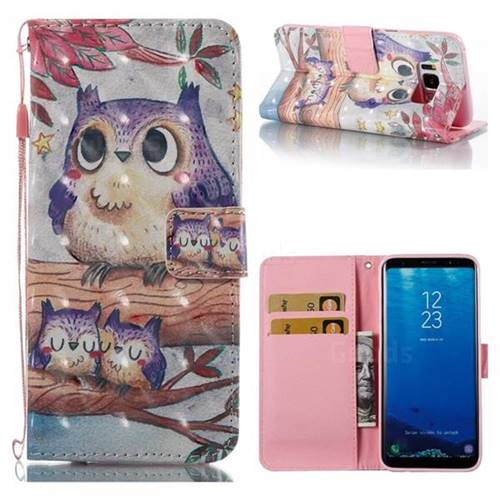 Purple Owl 3D Painted Leather Wallet Case for Samsung Galaxy S8