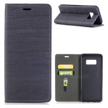 Tree Bark Pattern Automatic suction Leather Wallet Case for Samsung Galaxy S8 - Gray