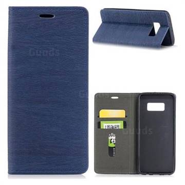 Tree Bark Pattern Automatic suction Leather Wallet Case for Samsung Galaxy S8 - Blue