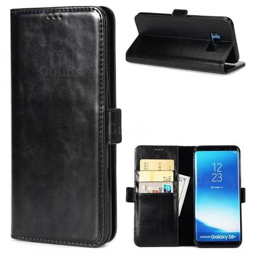 Luxury Crazy Horse PU Leather Wallet Case for Samsung Galaxy S8 - Black