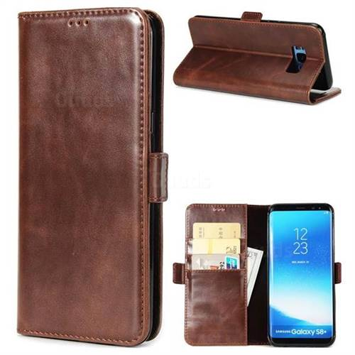 Luxury Crazy Horse PU Leather Wallet Case for Samsung Galaxy S8 - Coffee