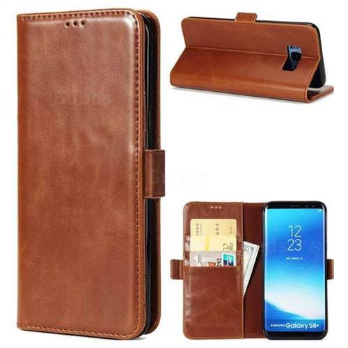 Luxury Crazy Horse PU Leather Wallet Case for Samsung Galaxy S8 - Brown