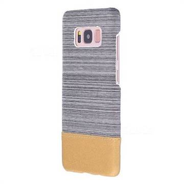 Canvas Cloth Coated Plastic Back Cover for Samsung Galaxy S8 - Light Grey