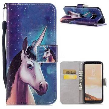 Blue Unicorn PU Leather Wallet Case for Samsung Galaxy S8