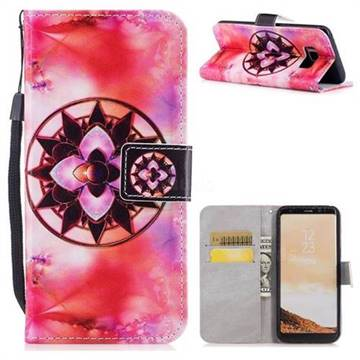 Red Mandala PU Leather Wallet Case for Samsung Galaxy S8