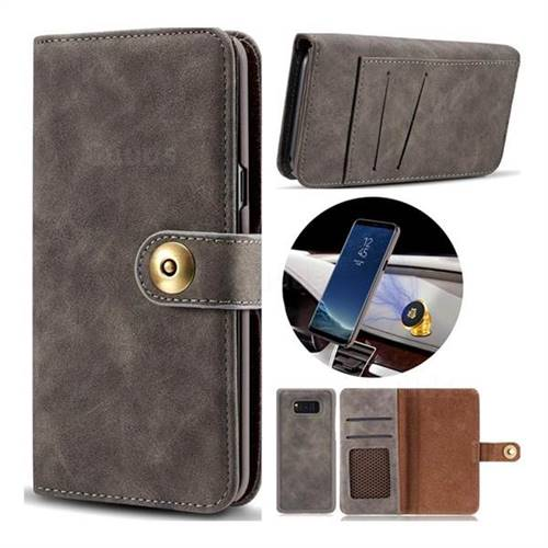 Luxury Vintage Split Separated Leather Wallet Case for Samsung Galaxy S8 - Black