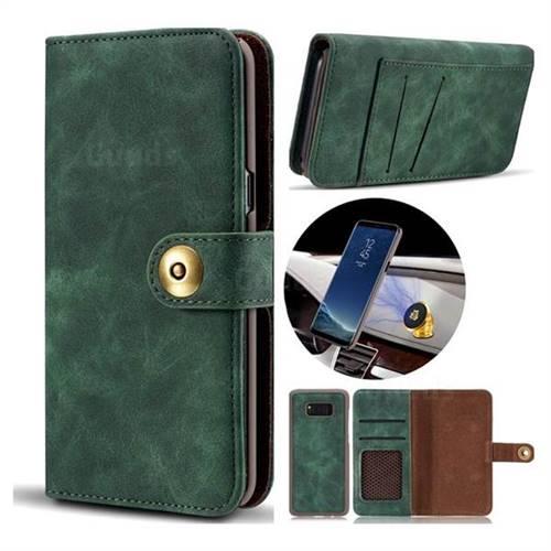 Luxury Vintage Split Separated Leather Wallet Case for Samsung Galaxy S8 - Dark Green
