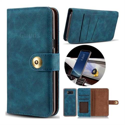 Luxury Vintage Split Separated Leather Wallet Case for Samsung Galaxy S8 - Navy Blue