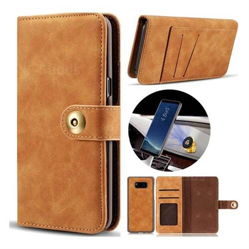 Luxury Vintage Split Separated Leather Wallet Case for Samsung Galaxy S8 - Khaki