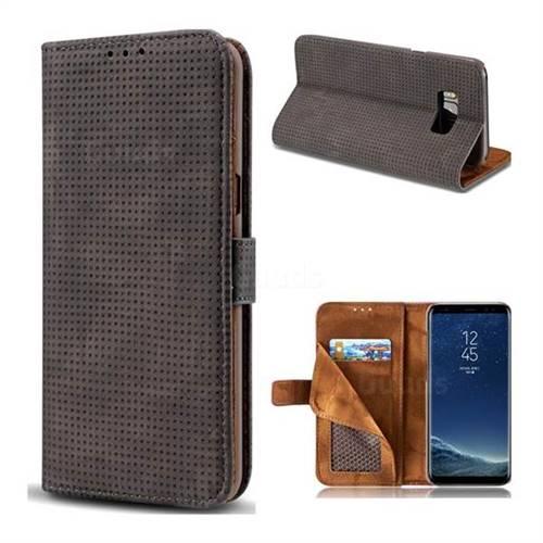 Luxury Vintage Mesh Monternet Leather Wallet Case for Samsung Galaxy S8 - Black