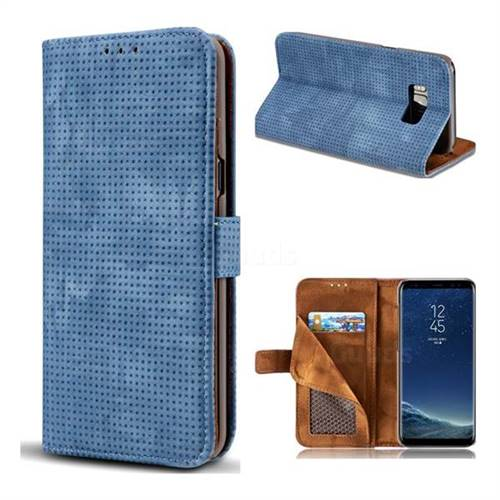 Luxury Vintage Mesh Monternet Leather Wallet Case for Samsung Galaxy S8 - Blue