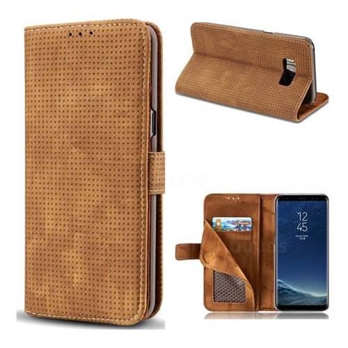 Luxury Vintage Mesh Monternet Leather Wallet Case for Samsung Galaxy S8 - Brown
