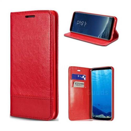Magnetic Suck Stitching Slim Leather Wallet Case for Samsung Galaxy S8 - Red
