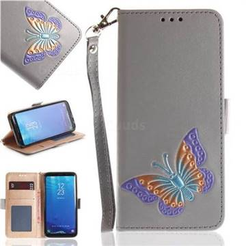Imprint Embossing Butterfly Leather Wallet Case for Samsung Galaxy S8 - Grey