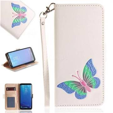 Imprint Embossing Butterfly Leather Wallet Case for Samsung Galaxy S8 - White