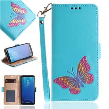 Imprint Embossing Butterfly Leather Wallet Case for Samsung Galaxy S8 - Sky Blue