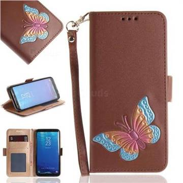 Imprint Embossing Butterfly Leather Wallet Case for Samsung Galaxy S8 - Brown