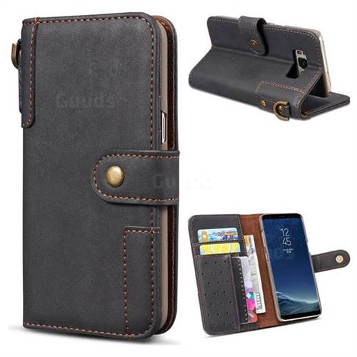 Retro Luxury Cowhide Leather Wallet Case for Samsung Galaxy S8 - Black