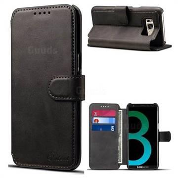 Suteni Calf Stripe Leather Wallet Flip Phone Case for Samsung Galaxy S8 - Black