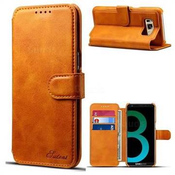 Suteni Calf Stripe Leather Wallet Flip Phone Case for Samsung Galaxy S8 - Khaki