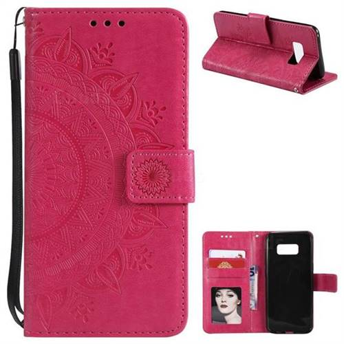 Intricate Embossing Datura Leather Wallet Case for Samsung Galaxy S8 - Rose Red