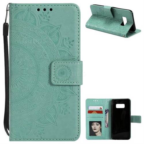 Intricate Embossing Datura Leather Wallet Case for Samsung Galaxy S8 - Mint Green