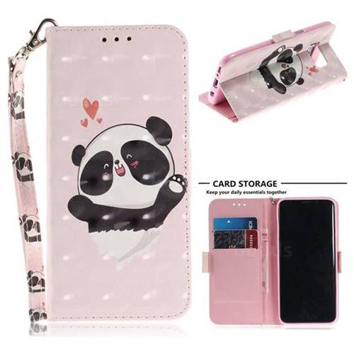 Heart Cat 3D Painted Leather Wallet Phone Case for Samsung Galaxy S8
