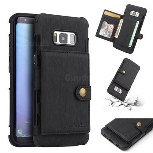 Brush Multi-function Leather Phone Case for Samsung Galaxy S8 - Black