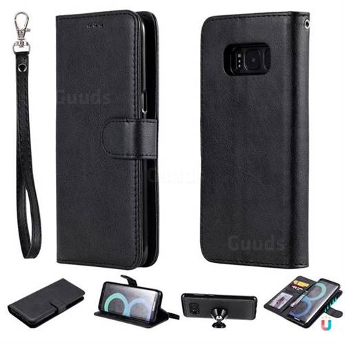 Retro Greek Detachable Magnetic PU Leather Wallet Phone Case for Samsung Galaxy S8 - Black
