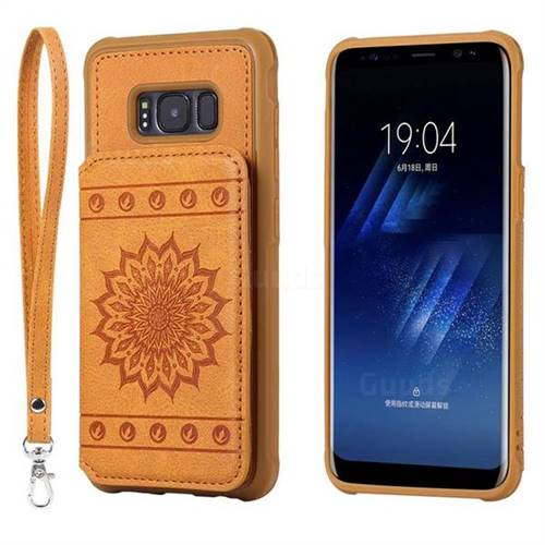 Luxury Embossing Sunflower Multifunction Leather Back Cover for Samsung Galaxy S8 - Brown
