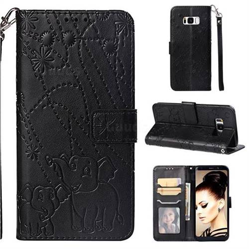 Embossing Fireworks Elephant Leather Wallet Case for Samsung Galaxy S8 - Black
