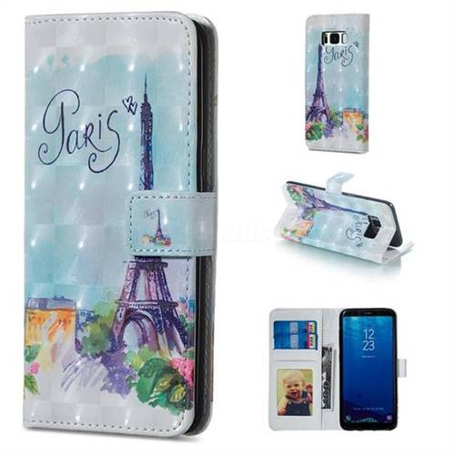 Paris Tower 3D Painted Leather Phone Wallet Case for Samsung Galaxy S8