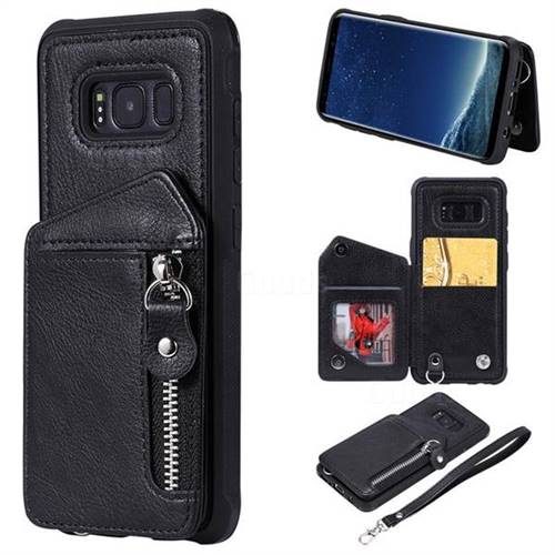 Classic Luxury Buckle Zipper Anti-fall Leather Phone Back Cover for Samsung Galaxy S8 - Black