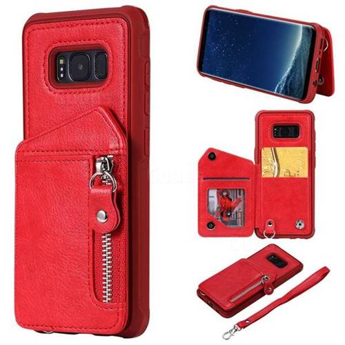 Classic Luxury Buckle Zipper Anti-fall Leather Phone Back Cover for Samsung Galaxy S8 - Red