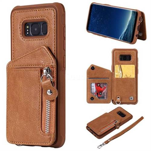 Classic Luxury Buckle Zipper Anti-fall Leather Phone Back Cover for Samsung Galaxy S8 - Brown