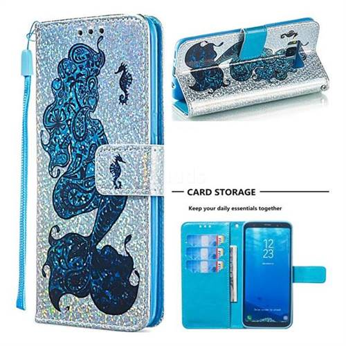 Mermaid Seahorse Sequins Painted Leather Wallet Case for Samsung Galaxy S8