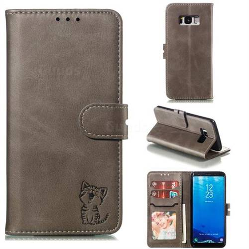Embossing Happy Cat Leather Wallet Case for Samsung Galaxy S8 - Gray