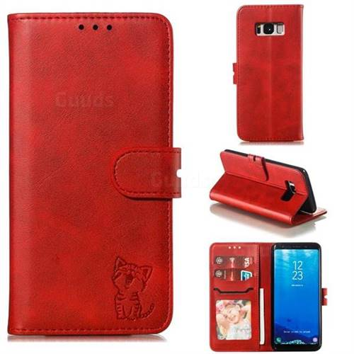 Embossing Happy Cat Leather Wallet Case for Samsung Galaxy S8 - Red