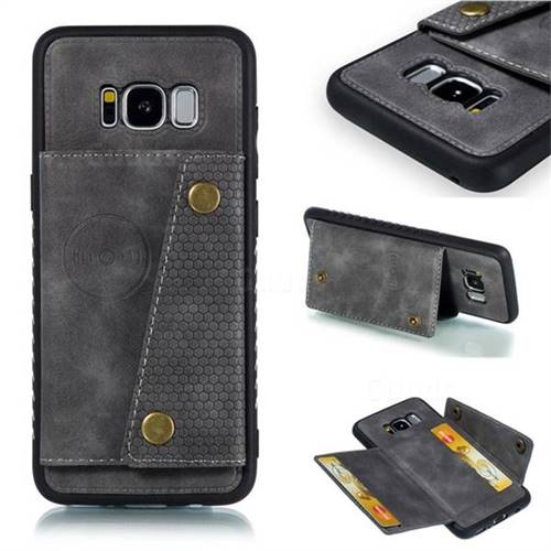 Retro Multifunction Card Slots Stand Leather Coated Phone Back Cover for Samsung Galaxy S8 - Gray