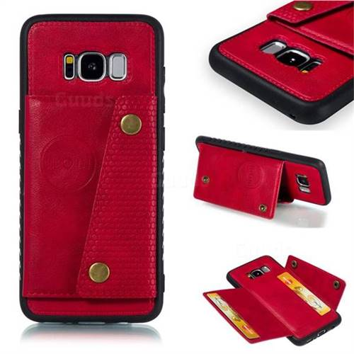 Retro Multifunction Card Slots Stand Leather Coated Phone Back Cover for Samsung Galaxy S8 - Red