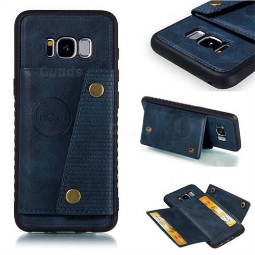 Retro Multifunction Card Slots Stand Leather Coated Phone Back Cover for Samsung Galaxy S8 - Blue