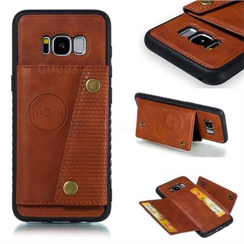 Retro Multifunction Card Slots Stand Leather Coated Phone Back Cover for Samsung Galaxy S8 - Brown