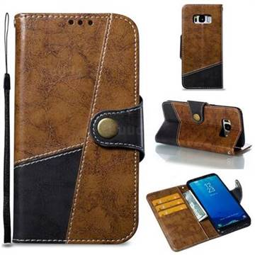 Retro Magnetic Stitching Wallet Flip Cover for Samsung Galaxy S8 - Brown