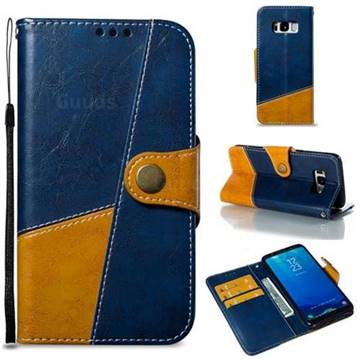 Retro Magnetic Stitching Wallet Flip Cover for Samsung Galaxy S8 - Blue