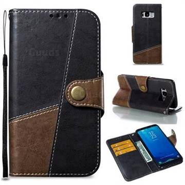 Retro Magnetic Stitching Wallet Flip Cover for Samsung Galaxy S8 - Dark Gray