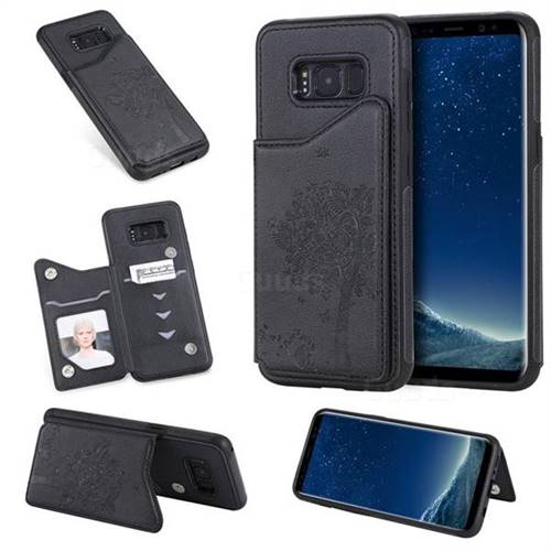 Luxury Tree and Cat Multifunction Magnetic Card Slots Stand Leather Phone Back Cover for Samsung Galaxy S8 - Black