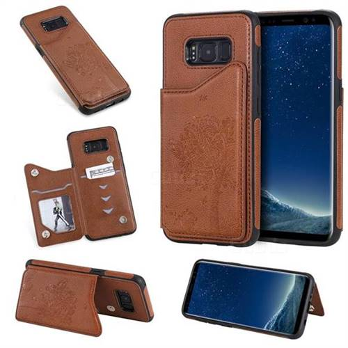 Luxury Tree and Cat Multifunction Magnetic Card Slots Stand Leather Phone Back Cover for Samsung Galaxy S8 - Brown